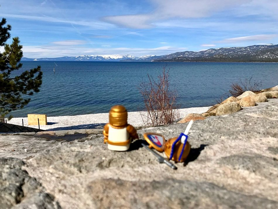 Water Sky Mountain Day Nature No People Outdoors Cloud - Sky Sunlight Tranquility Scenics Lake Beauty In Nature Mountain Range Retaining Wall Close-up Playmobil