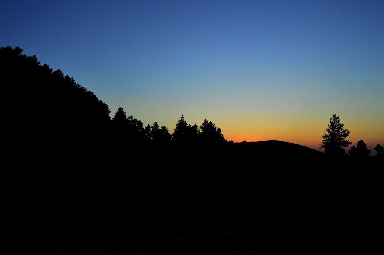 silhouette, tree, nature, landscape, tranquil scene, sunset, no people, scenics, clear sky, tranquility, beauty in nature, outdoors, sky, mountain, day