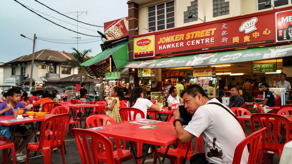 Travel Tourist Food Street Food Red Tables And Chairs Jonker Street Hawker Centre Melaka Malacca Streetphotography Street Photography Streetphoto_color Street Life Everybodystreet Colour Of Life