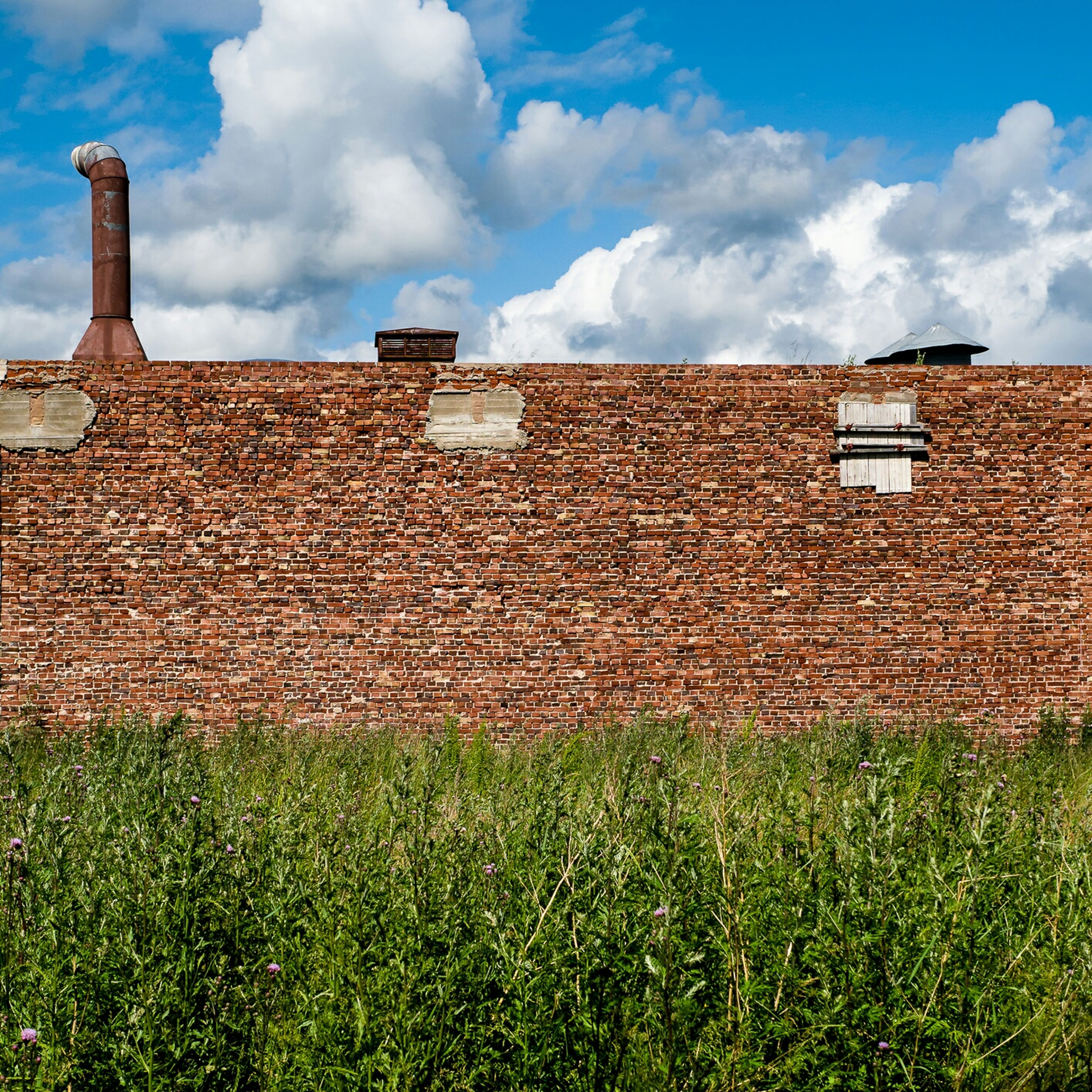 building exterior, architecture, built structure, sky, grass, field, cloud - sky, rural scene, house, cloud, plant, agriculture, day, landscape, growth, grassy, stone wall, old, outdoors, farm