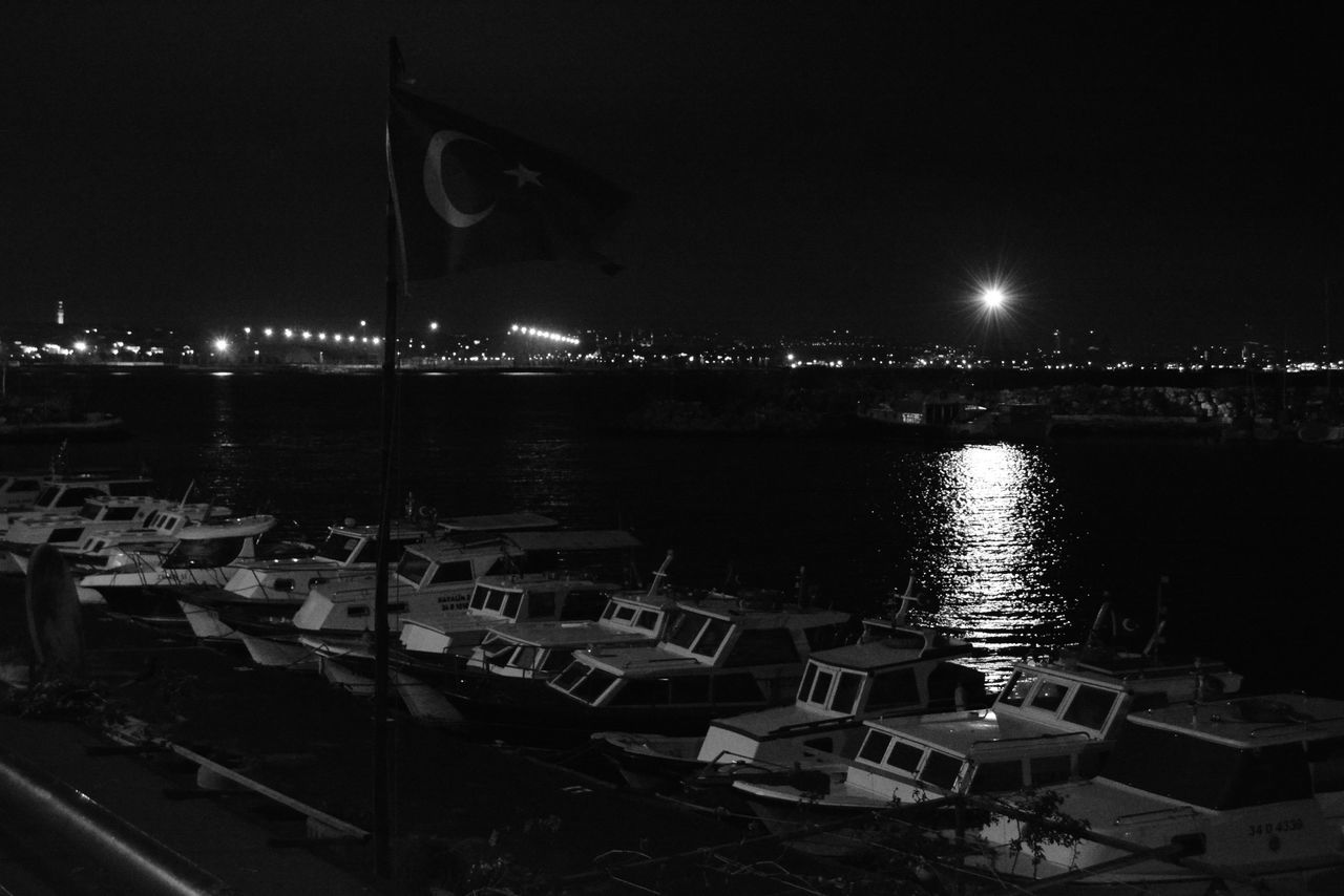 Marmara Sea Turkey Pictures Tell A Story Night Vision Silentnight Photography Black And White Outdoors Night Walk Journey My Gallery Art Gallery Water Reflection Night Sky Illuminated No People Nautical Vessel Sea Yacht