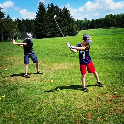 Brothers training with Dad. Golf Goandrew Gomichael