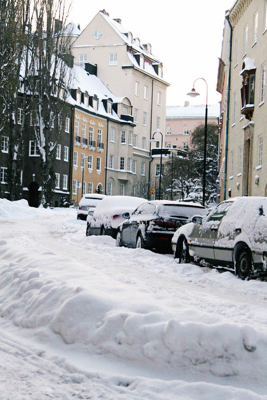 snow, winter, cold temperature, building exterior, car, architecture, built structure, weather, land vehicle, mode of transport, house, transportation, outdoors, day, residential building, stationary, extreme weather, nature, snowdrift, city, no people, tree, mammal