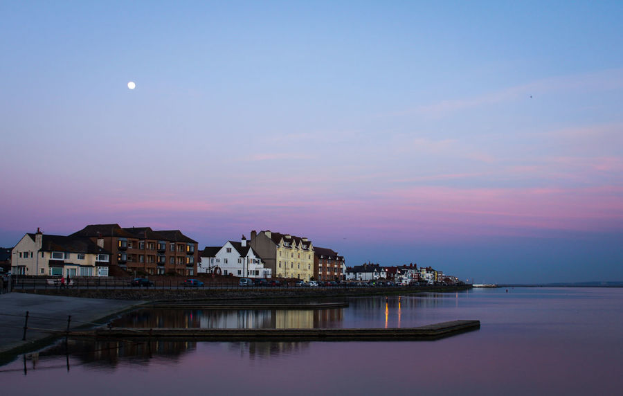 Architecture Astronomy Blue Sky Building Exterior Built Structure City Dusk Colours Full Moon Housing Moon Night No People Outdoors Pink Color Purple Reflection Reflections In The Water Sea Sky Water Waterfront West Kirby Wirral Wirral Peninsula Wirralcountrypark