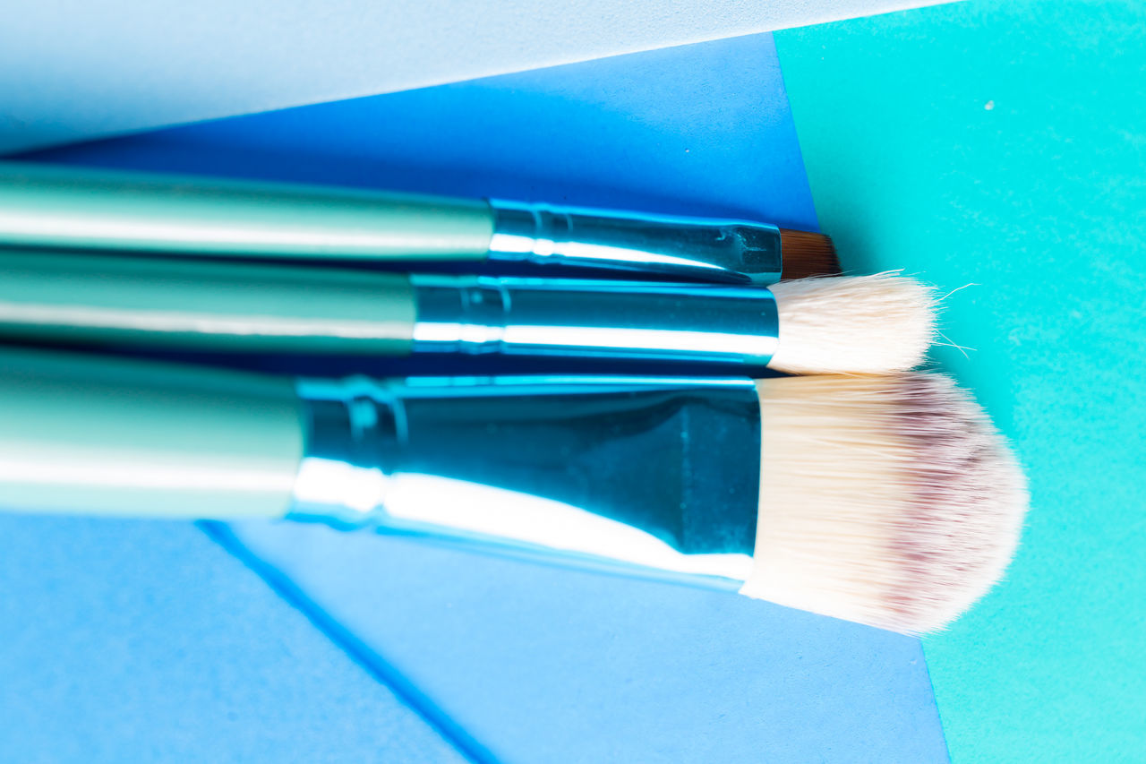 Background Blue Brushes Close-up Cool Tones Day Design Indoors  Makeup MakeUp Brushes Makeupartist Multi Colored No People Product Photography Shades Of Blue Top View