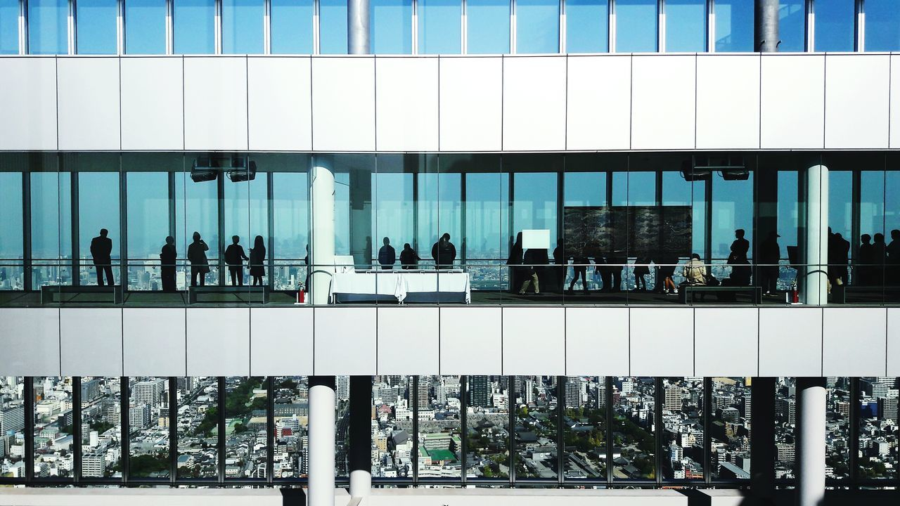 Adapted To The City OSAKA Osaka Japan Japan Japan Photography Film Panoramic View See The World Through My Eyes From My Point Of View Bird's Eye View Architecture Group Of People Minimalistic Exploring New Ground Urban Geometry Urban Urban Exploration Blue Sky Silhouettes Top Of The World Harukas Travel High Level EyeEm Best Shots Business Finance And Industry