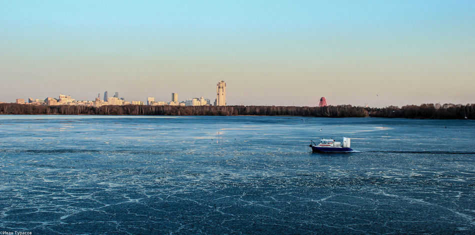 Blue Boat Calm Clear Sky Icy Moscow Nature SZAO Water Wide Winter