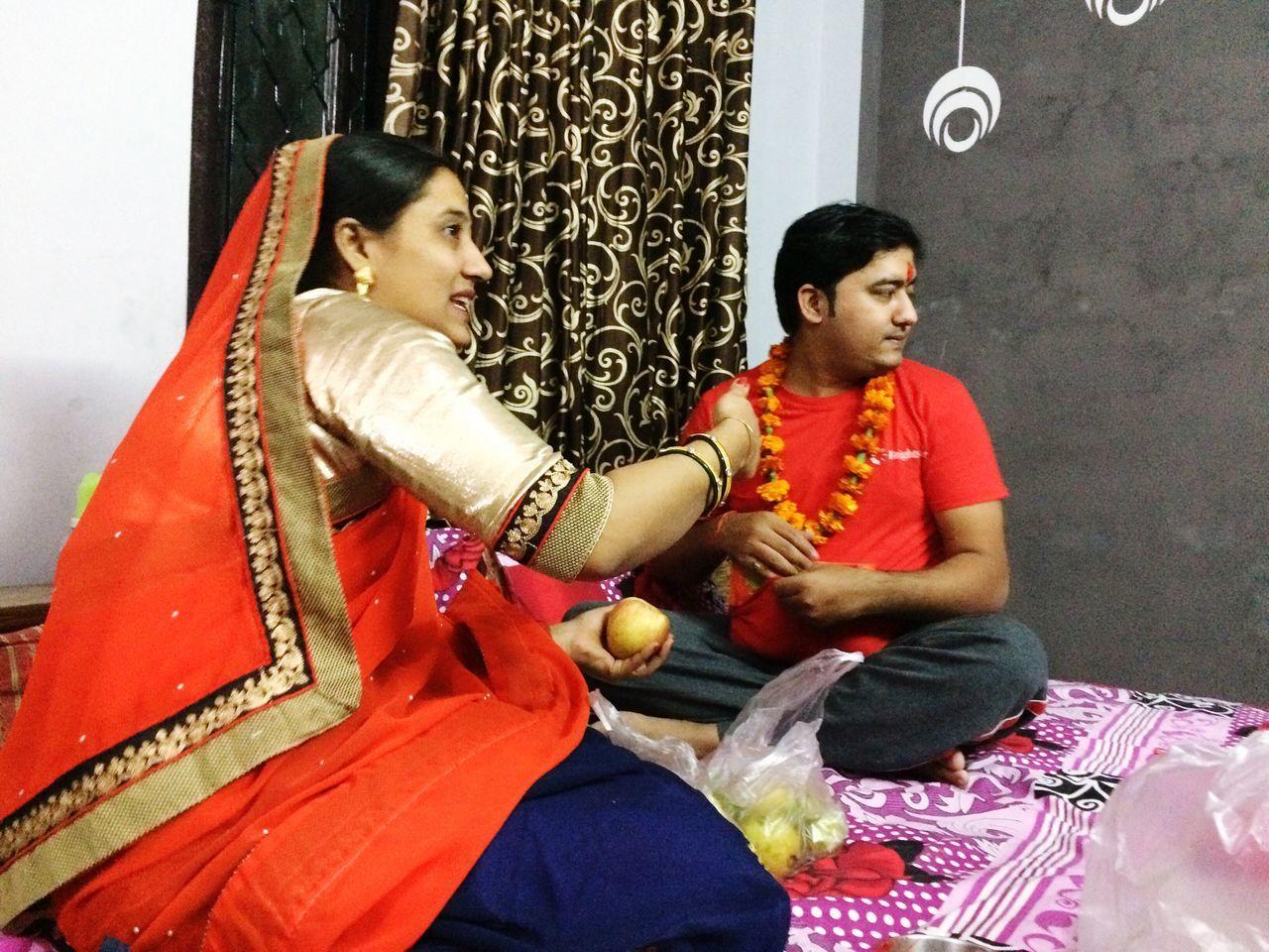 Indian Brother Sister Celebrating Bhaiya Dooj Festival (Tikka)