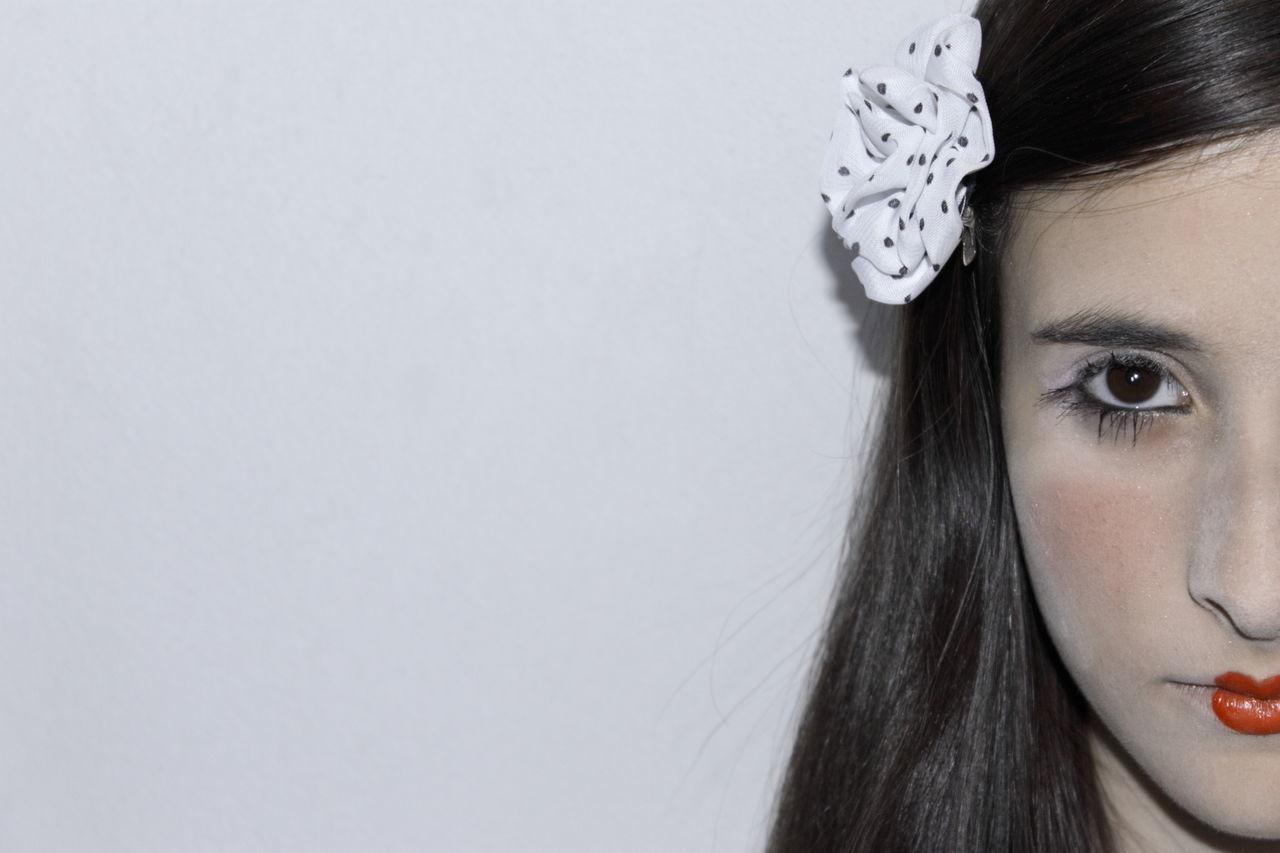 Beautiful stock photos of make-up, Black Hair, Brown Eyes, Close-Up, Copy Space