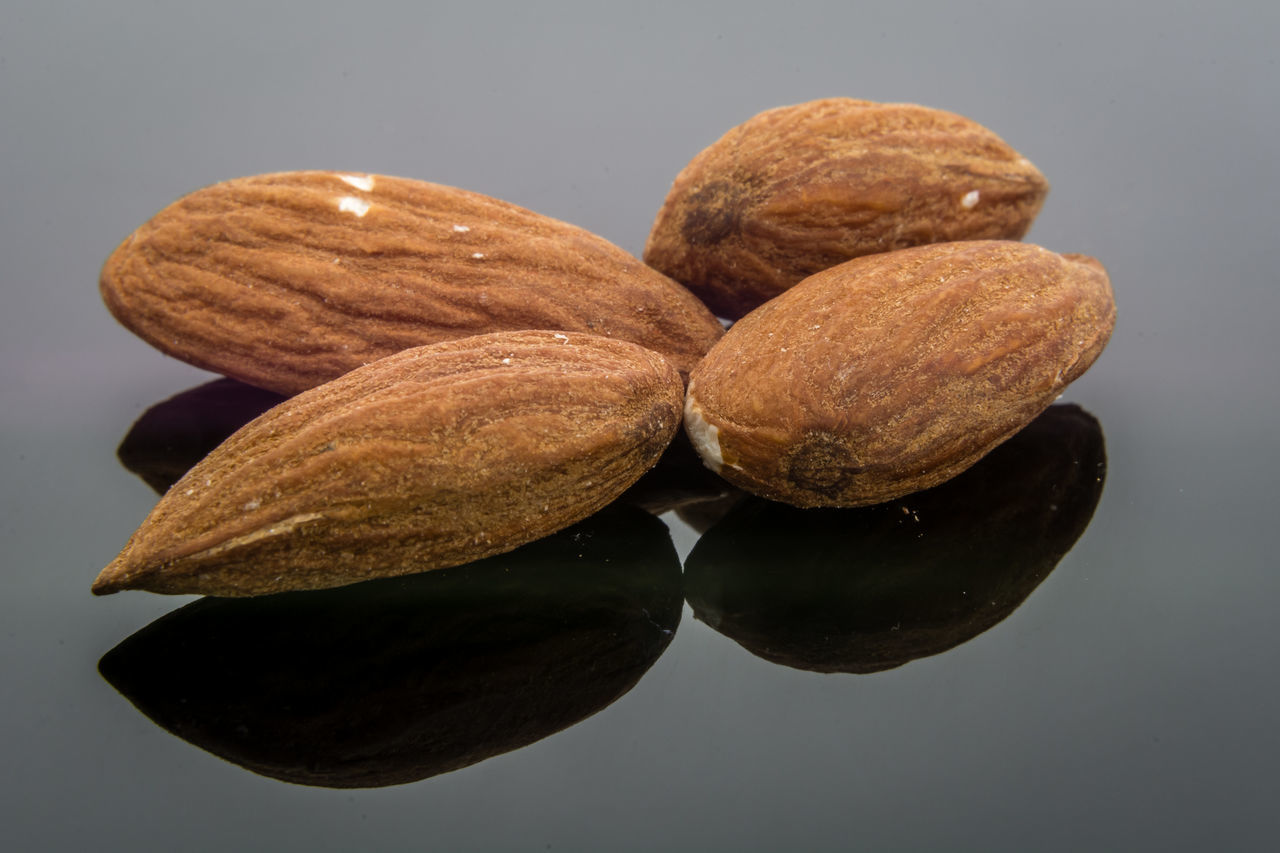 Almond Almonds Close Up Close-up Food Food And Drink Gray Background Healthy Eating Macro Nut Nuts Reflection Shiny