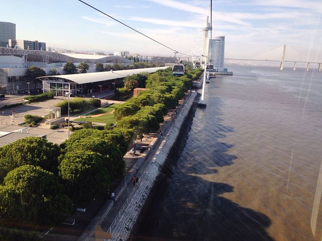 A Bird's Eye View City Life City Outdoors Nofilter Water Connection Sea Transportation High Angle View Bridge - Man Made Structure Built Structure Engineering Architecture River Suspension Bridge Bridge Calm Sailboat Waterfront Day Sky Cable Nature Tranquil Scene