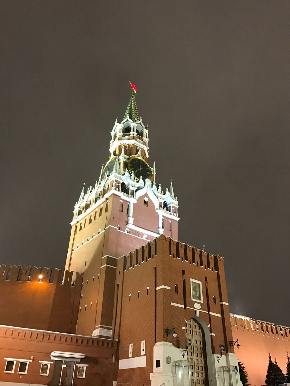 architecture, building exterior, built structure, low angle view, night, travel destinations, flag, outdoors, history, no people, illuminated, sky