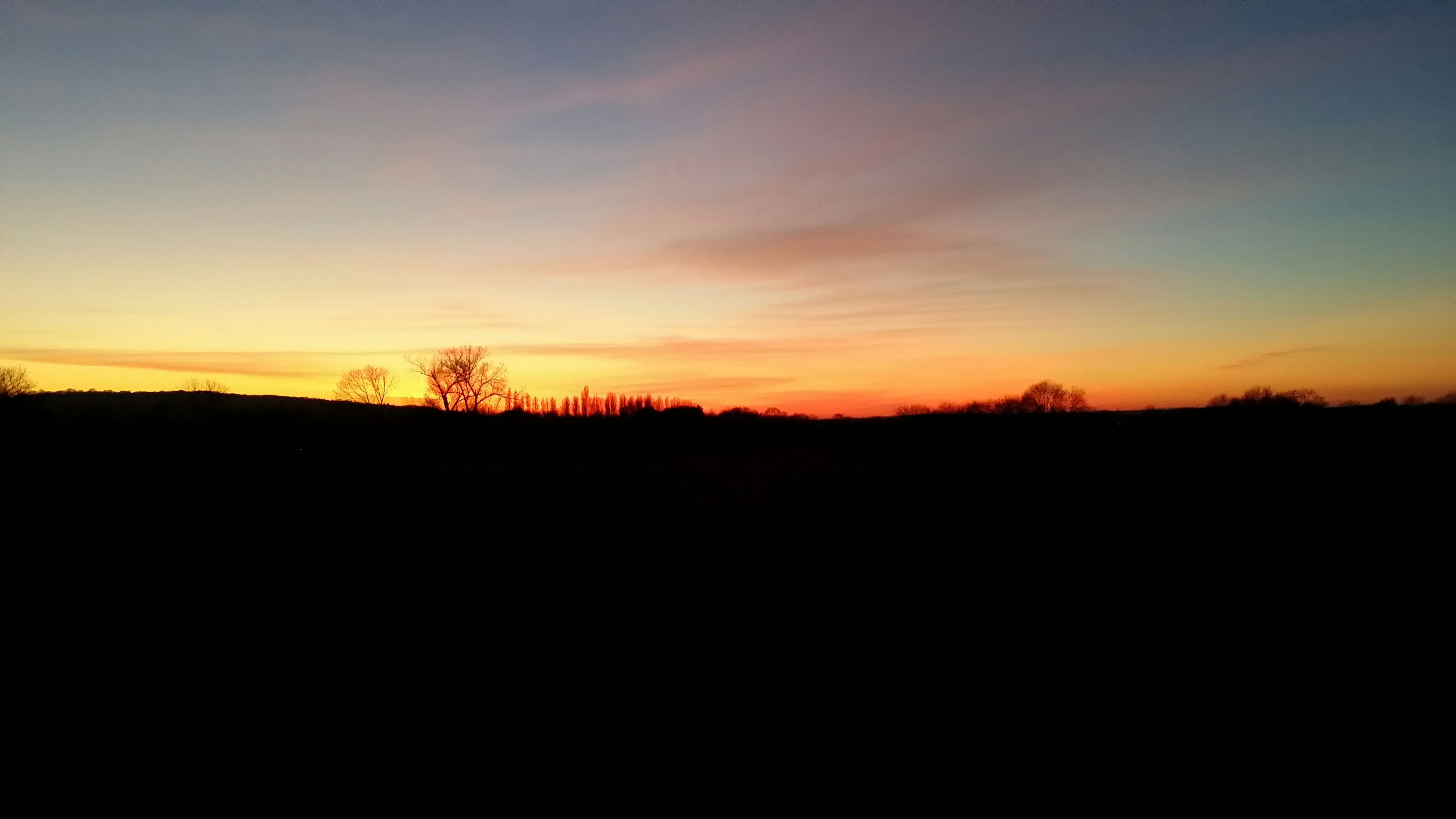 sunset, silhouette, tranquil scene, scenics, tranquility, beauty in nature, orange color, copy space, landscape, sky, nature, idyllic, dark, outline, outdoors, no people, tree, field, dusk, majestic