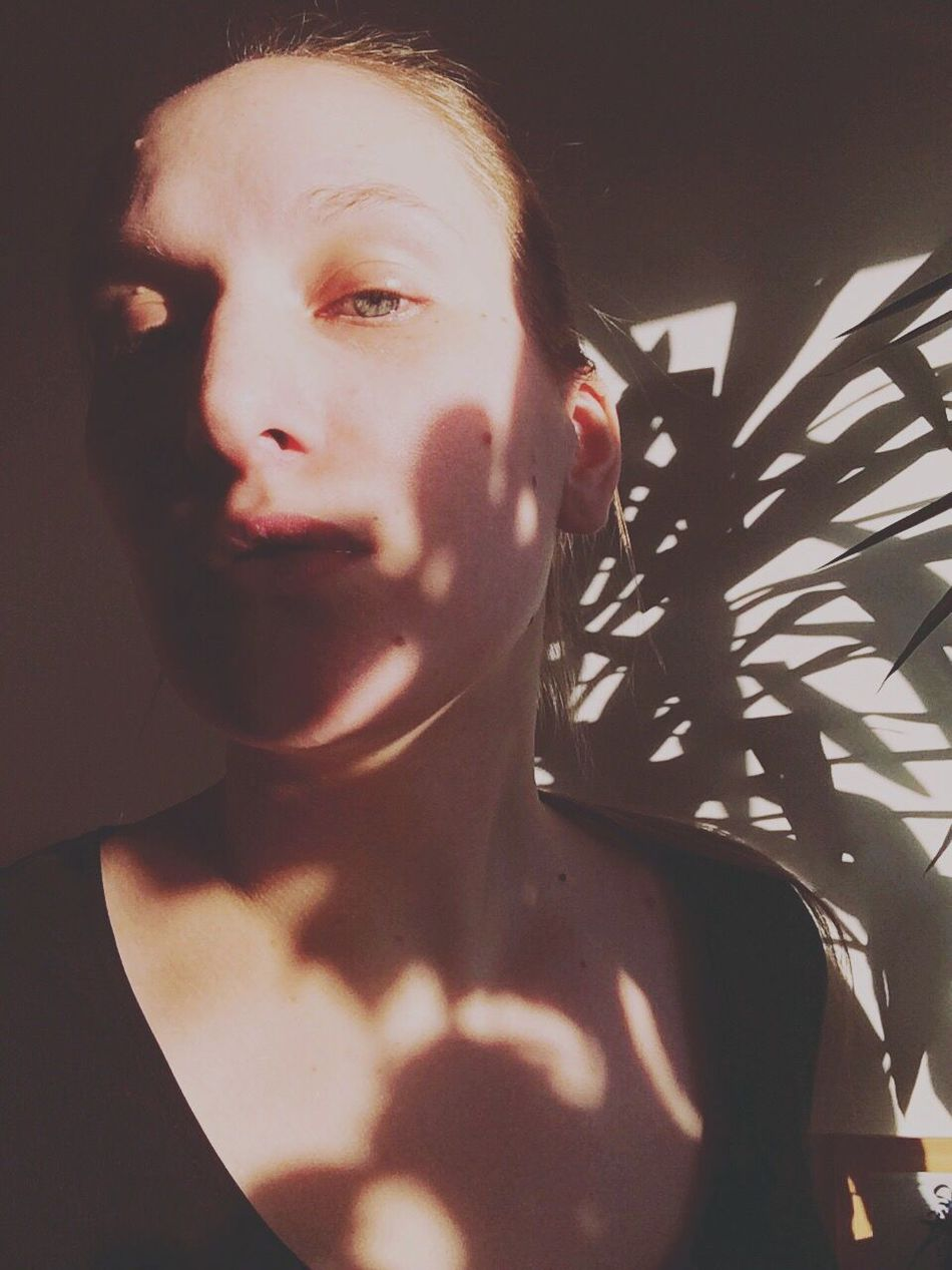 Self Portrait Portrait Female Iphonography Iphoneonly Light And Shadow Shadow Self Shadows On The Skin Plants Face Direct View Soft Feel The Silence Athome  Indoor Photography Available Light