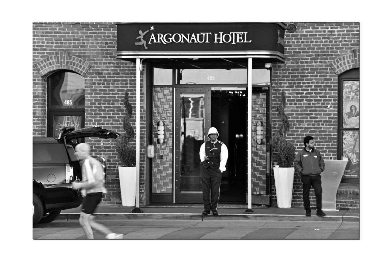Argonaut Hotel 2 San Francisco CA🇺🇸 Fisherman's Wharf A Noble House Hotel 4-Diamond Boutique Hotel Nautical Themed Located Inside Historic Haslett Warehouse 1907 Architecture Architectural Detail Exposed Brick Douglas Fir Beams Seaside Character Scenic Across The Street From Hyde St. Pier Beach St. Doorman Hotel Entrance Conceirge Whispered To Be Haunted Gold Rush & Barbary Coast Era Characters Monochrome Photograhy Monochrome Black & White Black And White Photography