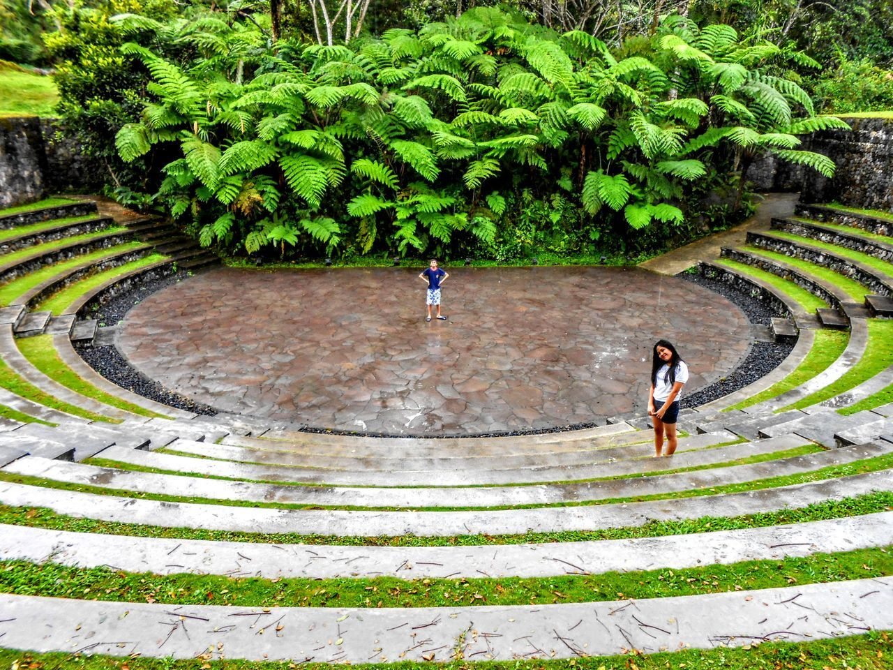 High Angle View Green Color Tree Outdoors Vacations Landscape Travel Photography From Where I Stand Travel Destinations Architecture Bukit Doa Hill Of Prayer Traveling Home For The Holidays Manado - North Sulawesi, Indonesia. Amphitheater Been There.