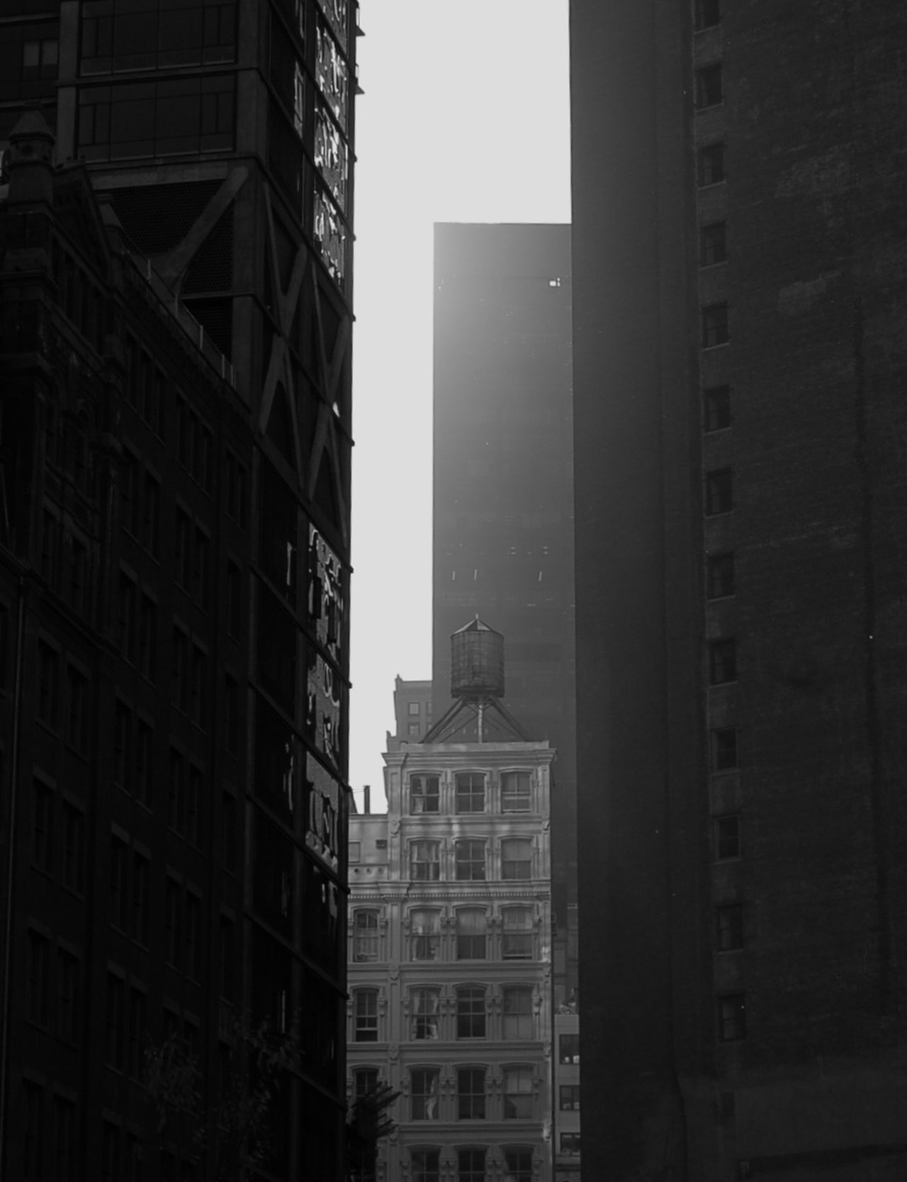 New York City Manhattan Manhattan New York Watertank Watertower Black And White