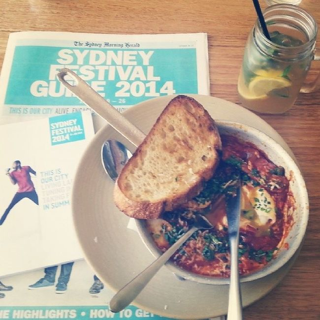 Just on an intimate lunch date with the Sydney Festival guide, daydreaming about the stories this summer will have in store over a plate of shakshuka. So excited about the Sydney Festival. There's a pop-up festival hub in Town Hall where you can buy tickets before online sales open on Monday. Did I mention I'm excited? Excited SydFest Sydney Festival summer instagood Australia foodstagram