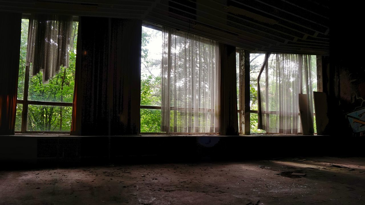 window, indoors, day, curtain, home interior, tree, no people, nature, architecture, domestic room