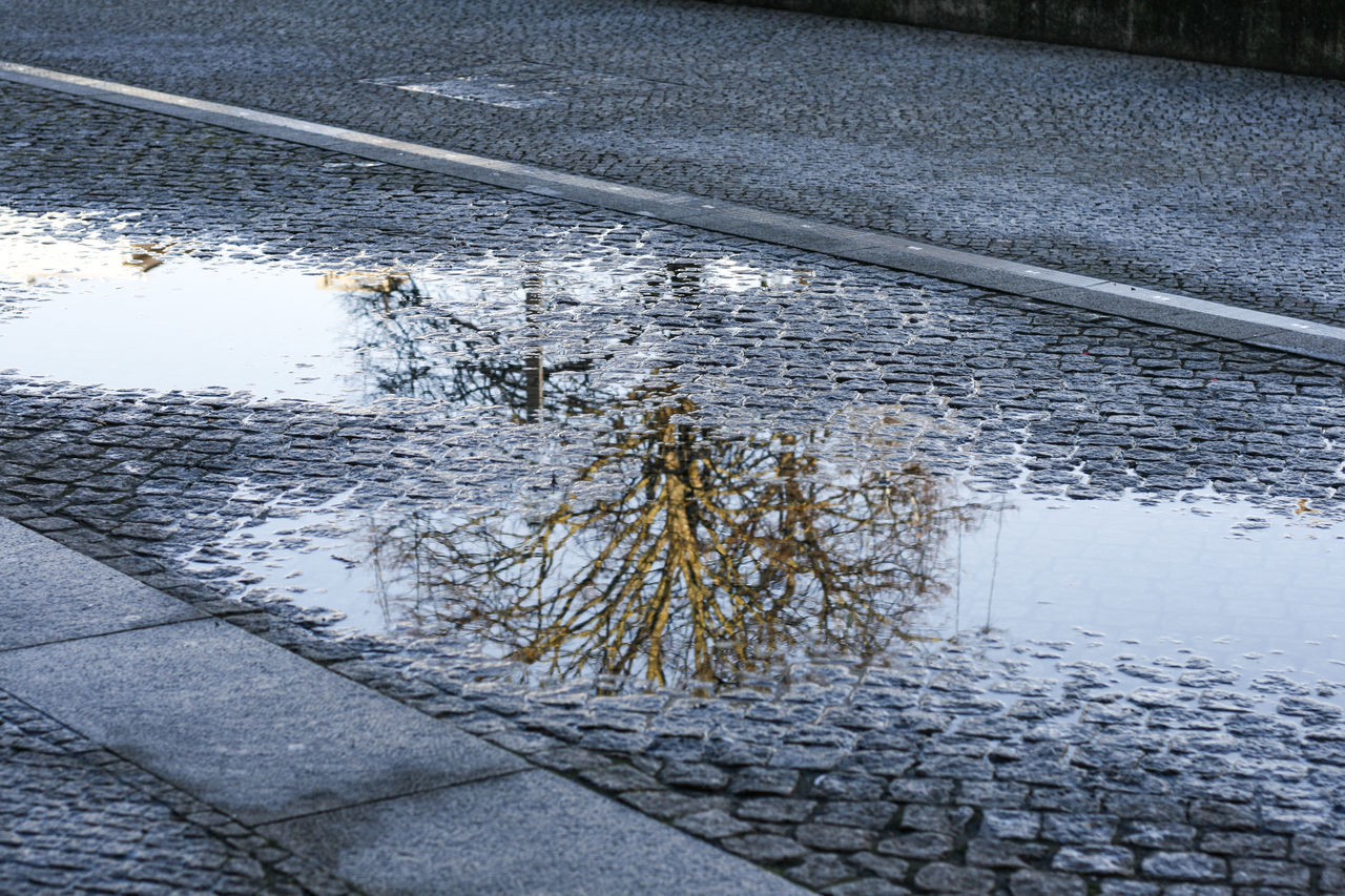 water, reflection, puddle, day, no people, high angle view, outdoors, nature, architecture