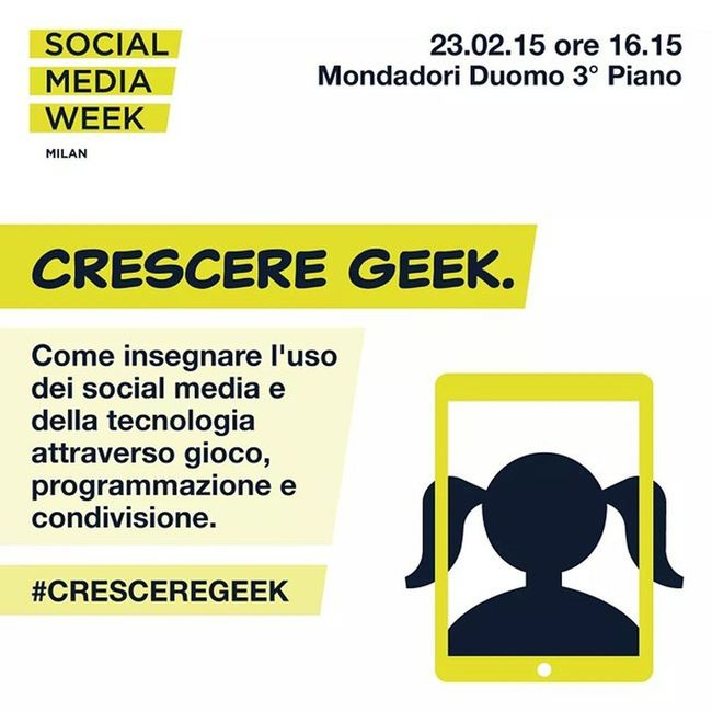 Lunedì 23 febbraio alle 16.15 vi aspetto alla @mondadori di Piazza Duomo. Prenderò parte a un panel organizzato in occasione di @SMWmilan dalle mitiche ragazze di @ggdmilano in cui spiegheremo come si può CrescereGeek . Cosa aspettate. Correte ad iscrivervi