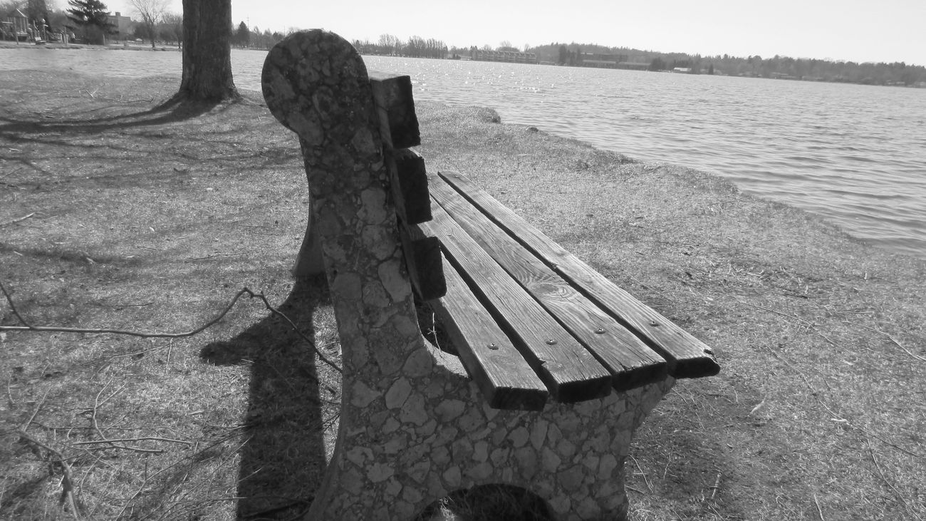 Blackandwhite Photography Lone Bench Spring Day AnglesSpring Into Spring Around Lake Cadillac Pure Michigan