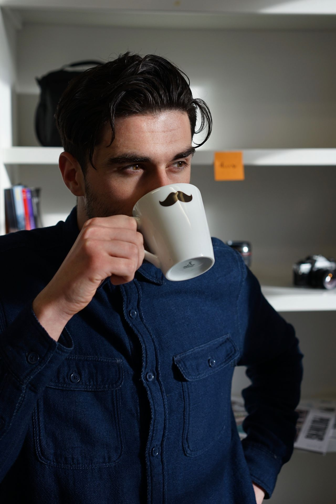 Coffee break. Adult Adults Only Brown Hair Close-up Coffee - Drink Coffee Cup Day Drink Drinking Front View Indoors  Men Mug One Man Only One Person One Young Man Only Only Men People Portrait Waist Up Young Adult Young Men