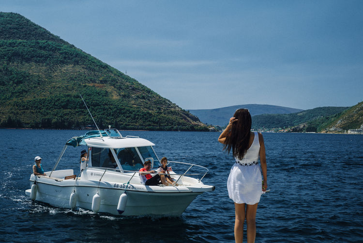 Nikon Travel VSCO Beauty In Nature Montenegro Mountain Nature Nautical Vessel One Person Outdoors Real People Sailing Sea Seaside_collection Sky Standing Summer Tourism Tranquil Scene Vacations Women