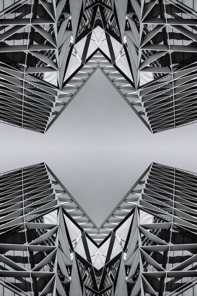 Architecture Geometric Shape Built Structure Pattern Architectural Feature Design Repetition Architectural Detail Architectural Modern Black And White Architecture And Art Creativity ArtWork Art Monochrome Kaleidoscope Symmetry Blackandwhite