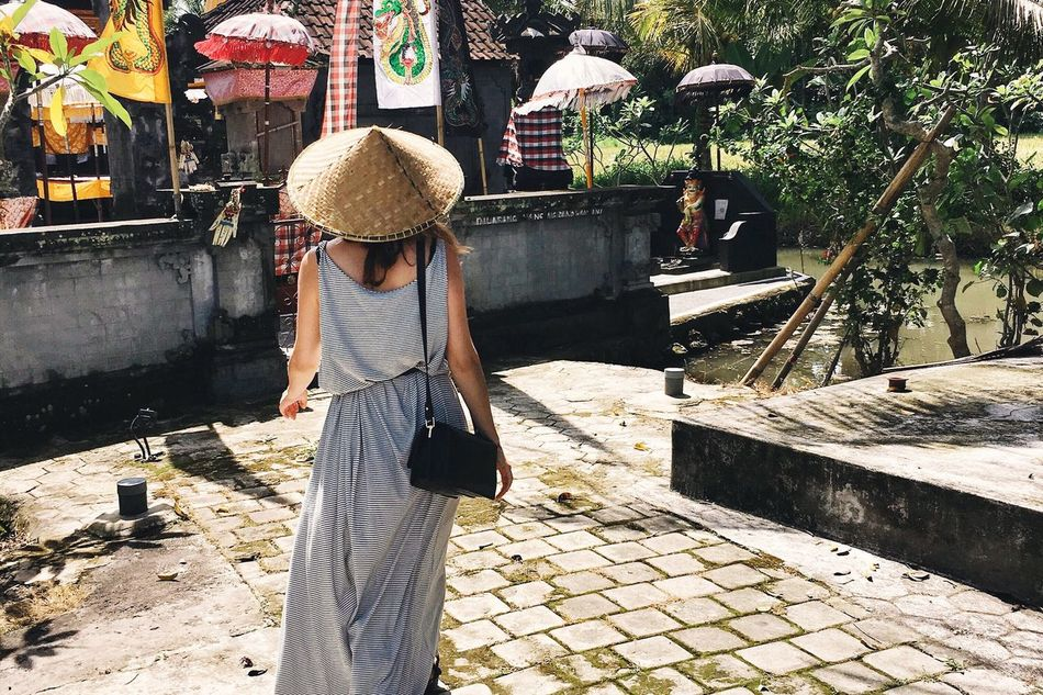 Explore Bali Female Explorer Follow_me Girl Wearing A Dress Woman With A Bamboo Hat