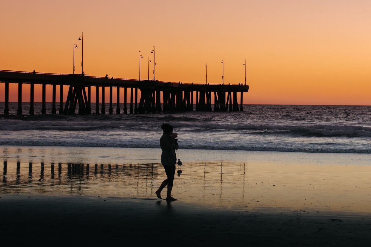 Always Be Cozy Sunset Coffee Coffee Time Sea Water Full Length Silhouette Standing Beach Venice Beach Venicepier Tranquil Scene Nature Sky Horizon Over Water Scenics Beauty In Nature Losangeles