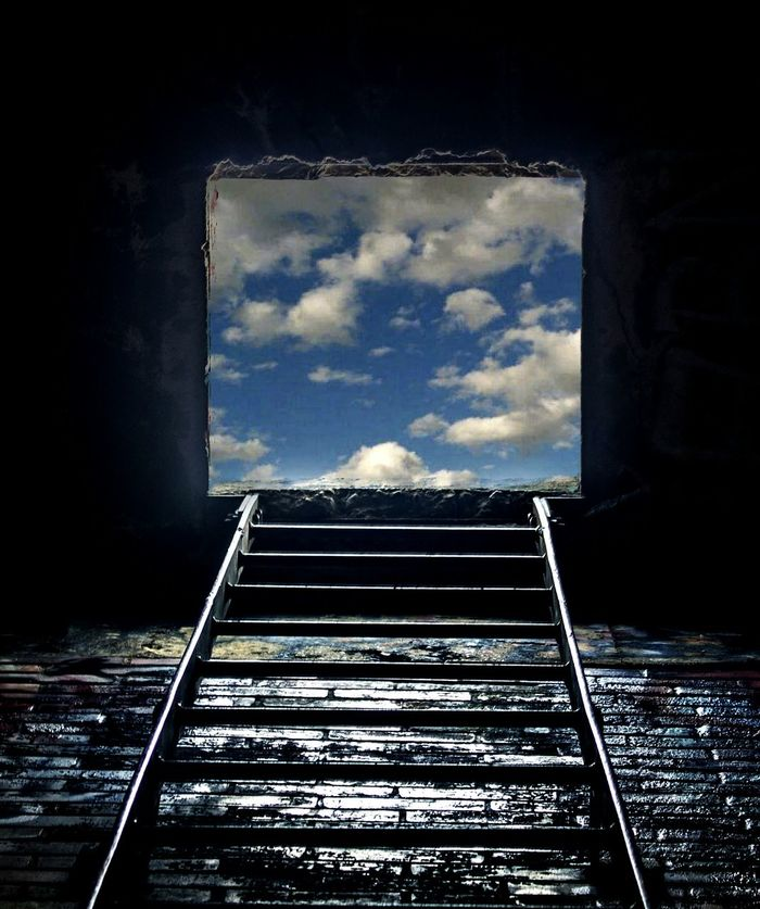 Escape the dark pit of your mind Escape Escape From Reality Escape The Dark Dark Darkness And Light Dark And Light Ladder Ladder To Nowhere Portal To Another World. Laddertoheaven Ladder To The Stars Ladder To Heaven Ladder To SkyLadder On The Wall Ladder On Ground Sky Sky And Clouds Clouds Hole In The Wall Clouds And Sky Colors Blue Sky Urbex Urbexphotography Hole Portal To Big World