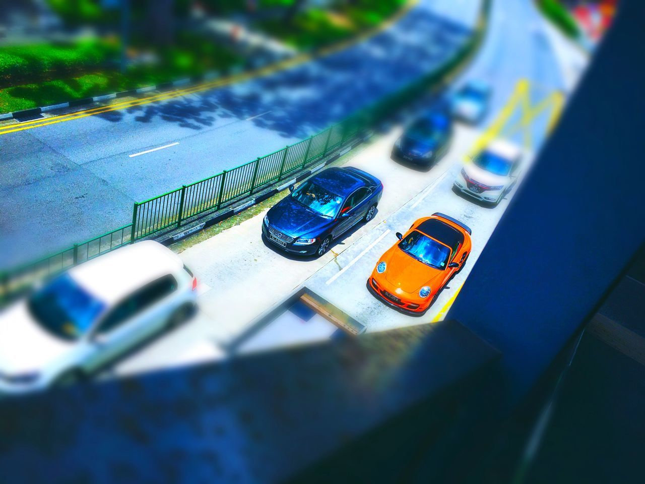 high angle view, car, transportation, land vehicle, mode of transport, no people, day, indoors, tilt-shift, close-up