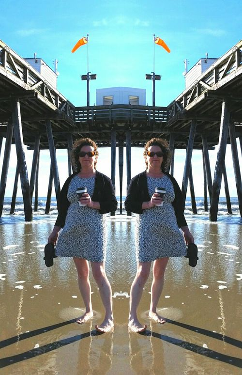 Beach Shore Surf Tide Pier Ocean City Nj  Sand coffee Barefoot summer Not Instagram Mirror Effect Mirror Image Portrait Of A Woman