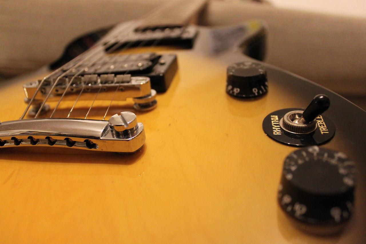 Close-up Electric Guitar Epiphone EpiphoneGuitars Guitar Strings Sunburst Trebble