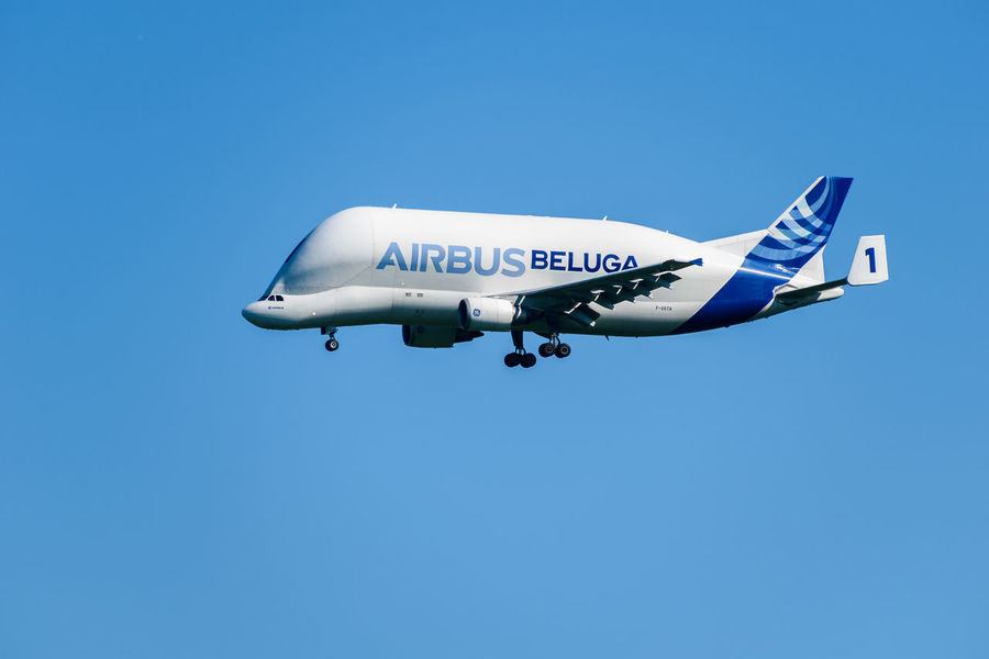 Airbus Beluga transporter aeroplane on approach to the factory in Chester Air Vehicle Airbus Airplane Beluga Blue Clear Sky Copy Space Day Flying Journey Mode Of Transport No People Outdoors Sky Transportation Transporter