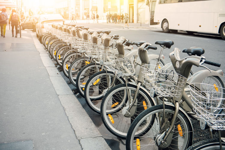 Architecture Bicycle Bicycle Rack City City Transportation Day Ecological Land Vehicle Mode Of Transport No People Outdoors Rent A Bike Stationary Transportation Urban Urban Transportation Velib' Paris Vélib Sharing  Bike Sharing