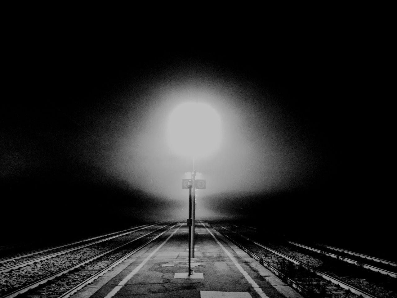 railroad track, rail transportation, transportation, illuminated, night, public transportation, the way forward, railway track, no people, railway signal, clear sky, outdoors, sky