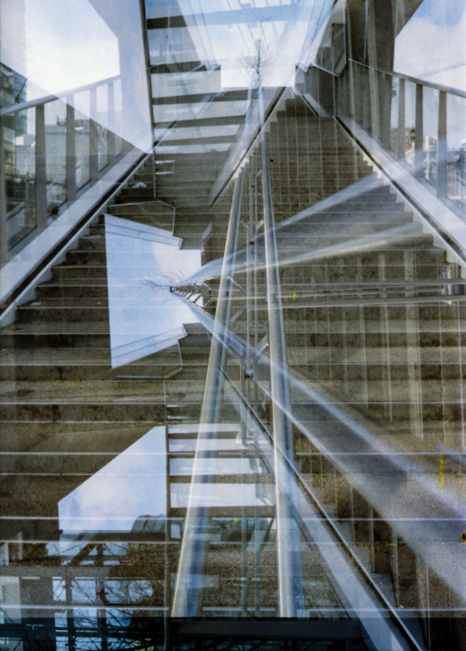 Stairs double exposure Analogue Photography Architecture Built Structure Day Double Exposure Film Holland Lines Modern Netherlands No People Pattern Staircase Steps And Staircases Utrecht