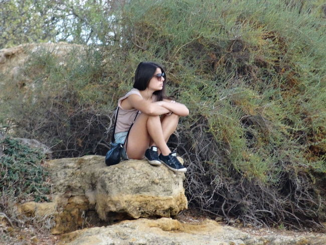 Fix the idea Beauty In Nature Casual Clothing EyeEm Portraits Girl Girly Leisure Activity Relaxation Rock - Object Thinking About Life Vacations Valle Dei Templi
