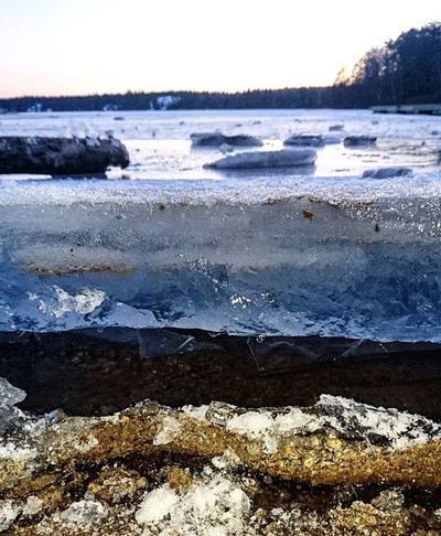 The ice was singing and rising yesterday at Flaten Ice Flatenbadet Underwater Underice Evening Winter Frost Frozen Lake