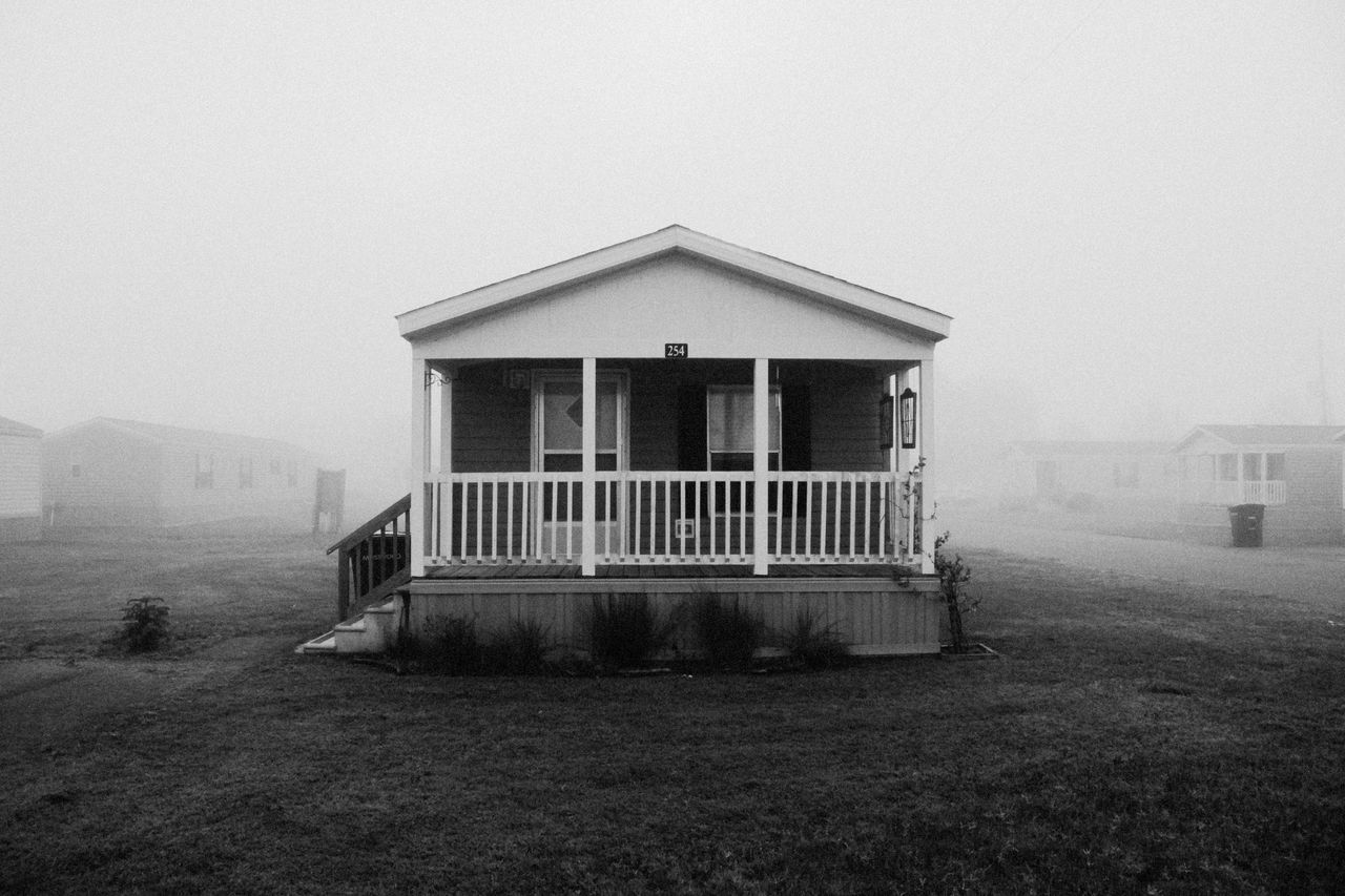 built structure, architecture, outdoors, no people, building exterior, fog, day, nature, sky