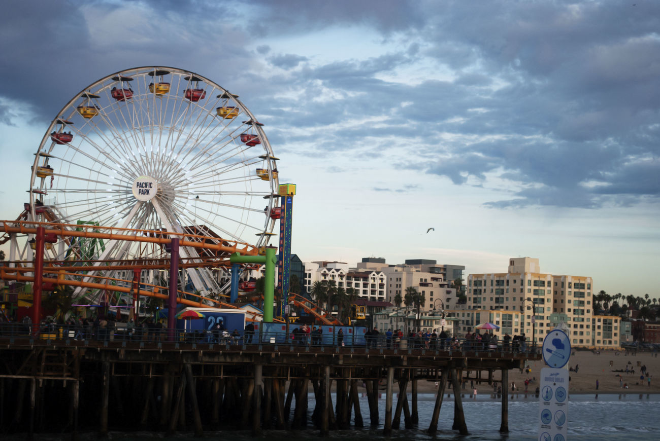 Beach California Cloud - Sky Day Ferris Wheel Large Group Of People Ocean Outdoors Pier Santa Monica Santa Monica Pier So Cal First Eyeem Photo