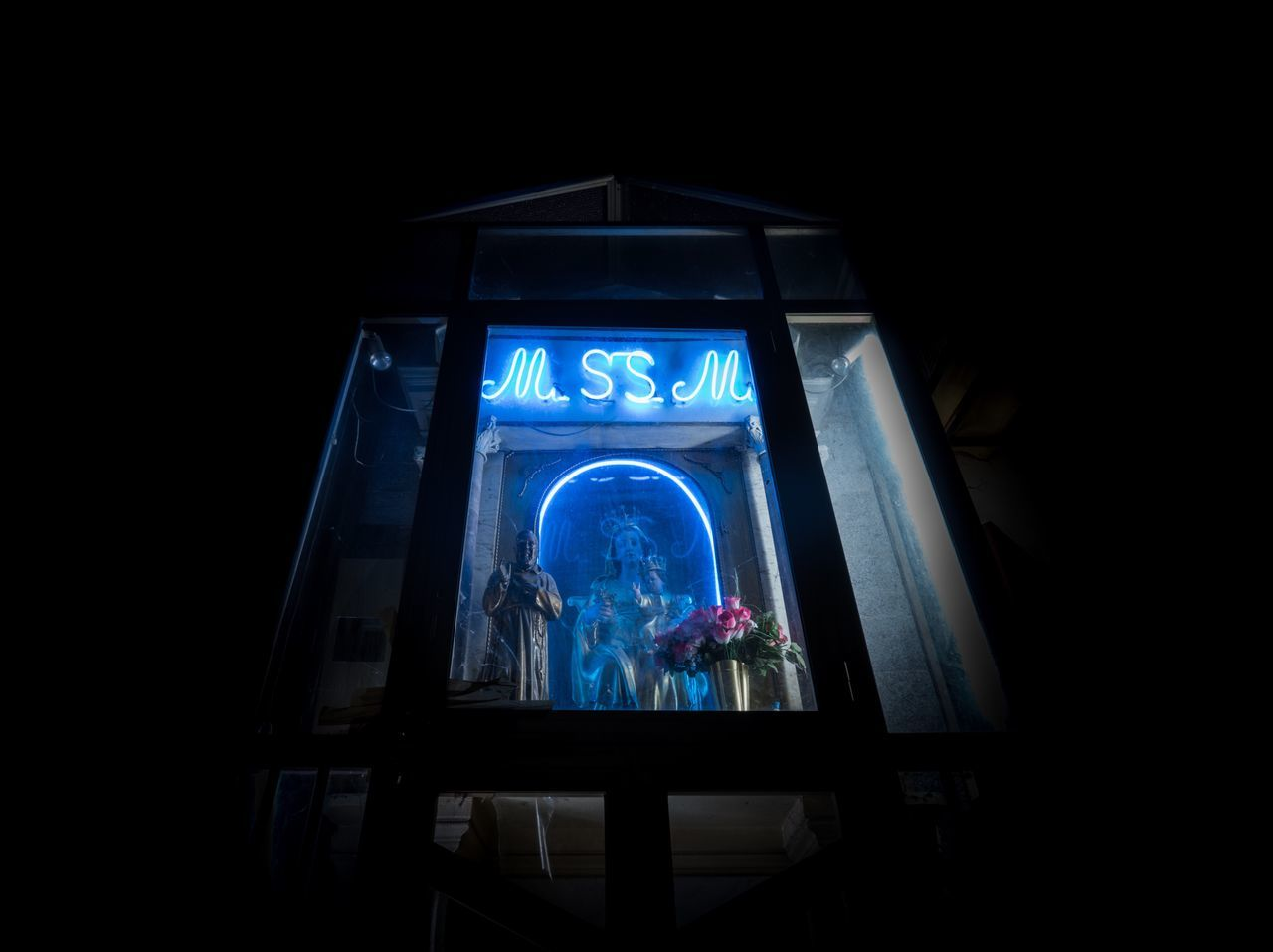 I believe in Neon. Window Dark Night Maria Religion Religious  Neon Lights Neon Naples Napoli Travel Destinations Illuminated Blue You Want It Darker Italia Italy Bella Italia Italy❤️ City Statue Letters Europe Worship Streetphotography Street Photography