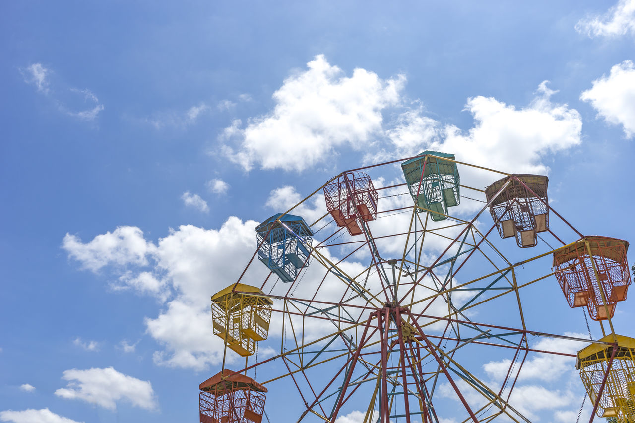 amusement park, arts culture and entertainment, cloud - sky, amusement park ride, low angle view, sky, ferris wheel, day, big wheel, leisure activity, outdoors, no people, carousel