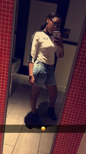Fullbodyshot Fullbody Model Mirror Mirror Picture Nike Shorts Jeans IPhoneography IPhone Iphone 6 Plus Shirt Outfit Night Ootd Forever21 Long Hair Ponytail Black Girl Blackgirl Blackgirlsrock Blackgirlmagic Tall Indian