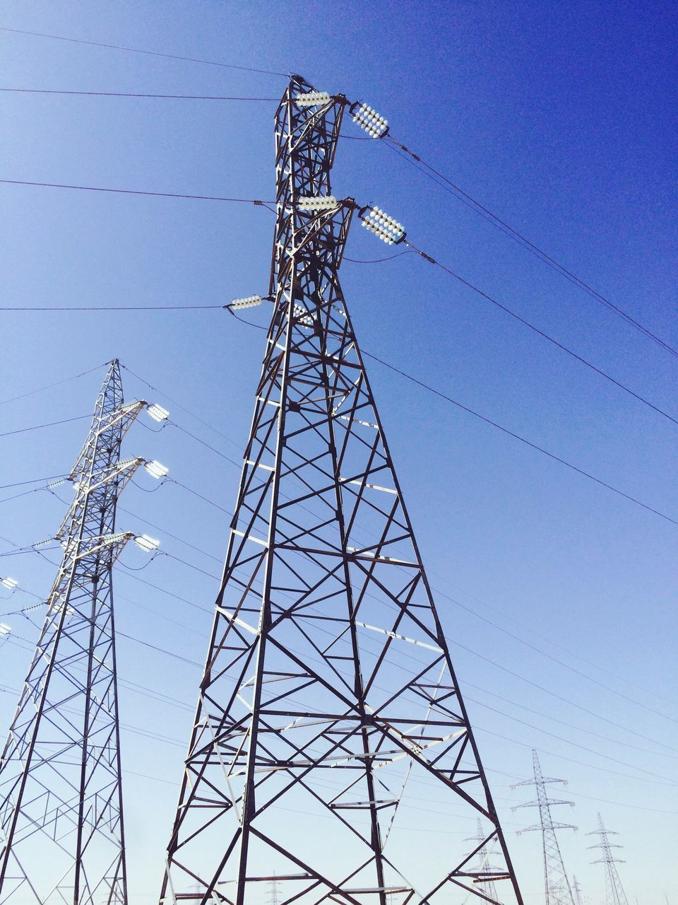 cable, electricity pylon, electricity, power supply, power line, connection, fuel and power generation, electricity tower, low angle view, clear sky, tall, no people, day, technology, outdoors, sky