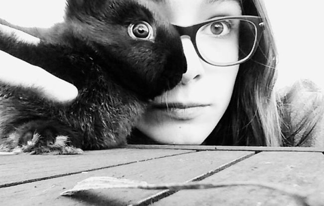 Black & White Close-up Eyes Girl Impressed Mimetism One Animal Rabbit