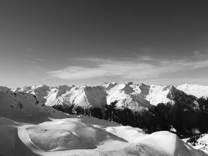 Beauty In Nature Black And White Blackandwhite Idyllic Landscape Majestic Monochrome Photography Mountain Mountain Peak Mountain Range Nature Remote Scenics Season  Sky Snow Snowcapped Mountain Tranquil Scene Tranquility Weather Winter Snow Sports