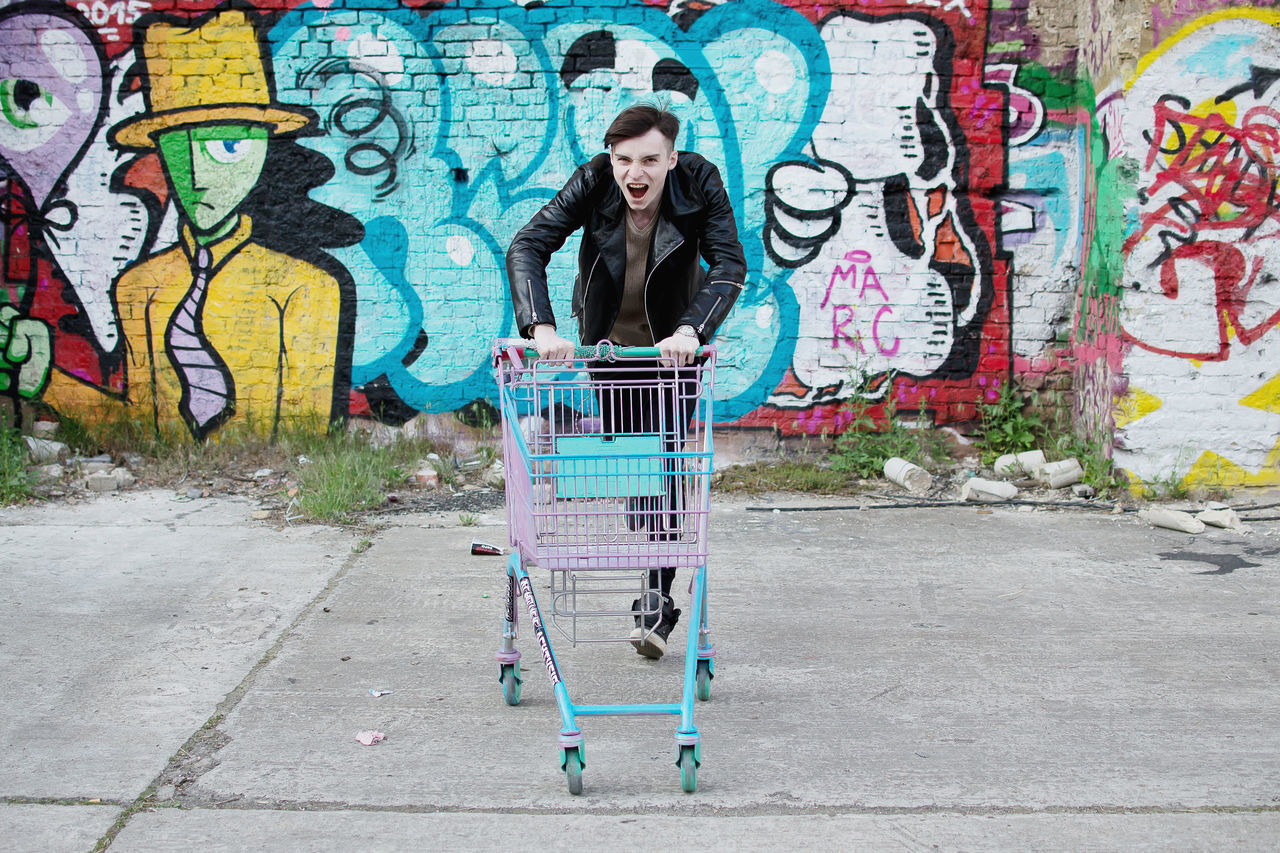 Emotions Graffiti Grocery Cart Hooligan Infringer Lifestyle Male Malemodel  Punk Punk Style Punkrock Streetart Streetstyle Subculture Teen Urban Style Young Youth Capture Berlin